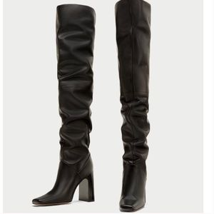 Zara Over The Knee Black Leather Boot